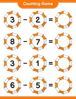 Jogo de contagem, conta o número de guarda-chuva de praia e escreve o resultado. jogo educativo para crianças