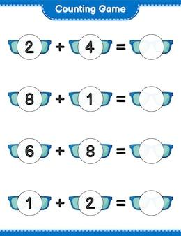 Jogo de contagem, conta o número de óculos de sol e escreve o resultado jogo educativo para crianças