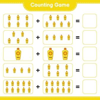 Jogo de contagem, conta o número de protetor solar e escreve o resultado jogo educativo para crianças