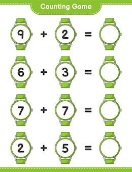 Jogo de contagem, conta o número de relógios e escreve o resultado jogo educativo para crianças