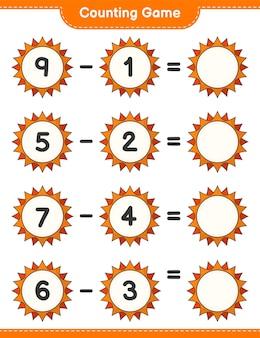 Jogo de contagem, conta o número de sol e escreve o resultado jogo educativo para crianças