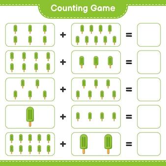 Jogo de contagem, conta o número de sorvete e escreve o resultado jogo educativo para crianças