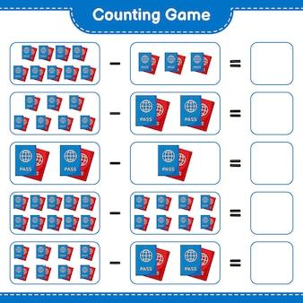 Jogo de contagem, conta o número do passaporte e escreve o resultado jogo educativo para crianças