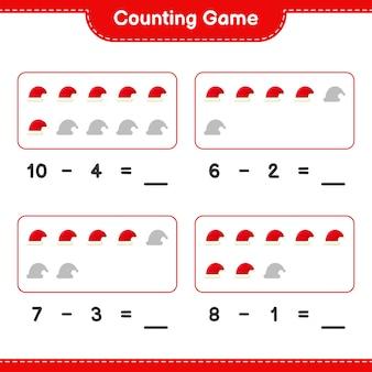 Jogo de contagem, conte o número de chapéus de papai noel e escreva o resultado