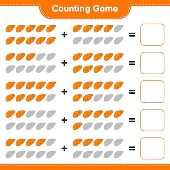 Jogo de contagem, conte o número de conchas do mar e escreva o resultado. jogo educativo para crianças