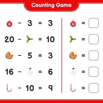 Jogo de contagem, conte o número de decoração de natal e escreva o resultado. jogo educativo infantil