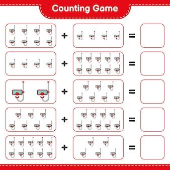 Jogo de contagem, conte o número de máscara de mergulho e escreva o resultado jogo educativo para crianças