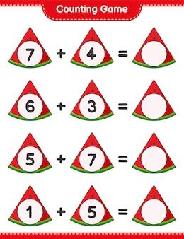 Jogo de contagem, conte o número de melancia e escreva o resultado jogo educativo para crianças