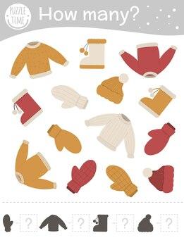 Jogo de contagem de inverno com roupas quentes