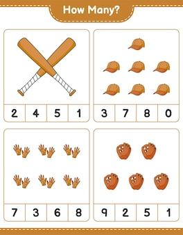Jogo de contagem de quantas luvas de beisebol luvas de golfe boné chapéu e taco de beisebol