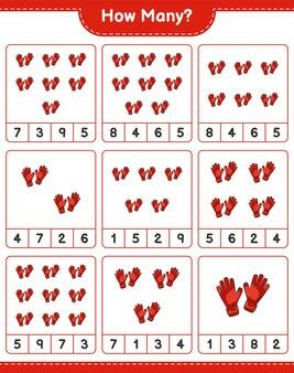Jogo de contagem de quantas luvas de goleiro - jogo educativo para crianças - planilha para impressão