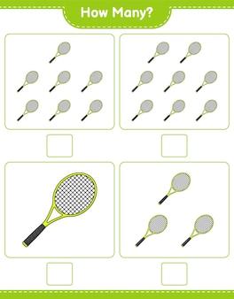 Jogo de contagem de quantas raquete de tênis educacional para crianças planilha para impressão