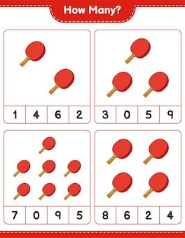 Jogo de contagem de quantas raquetes de pingue-pongue - planilha para impressão do jogo educativo para crianças