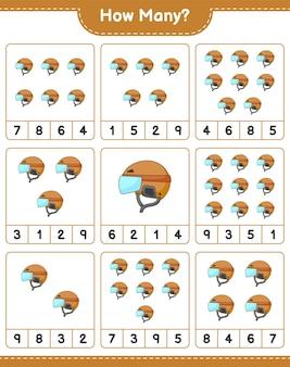 Jogo de contagem de quantos capacetes de hóquei, jogo educativo para crianças, planilha para impressão