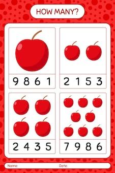 Jogo de contagem de quantos com a planilha da apple para crianças em idade pré-escolar, planilha de atividades para crianças, planilha para impressão