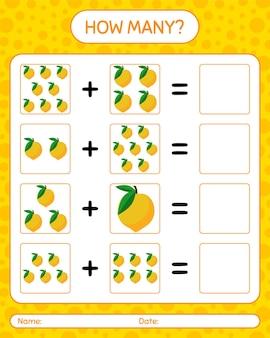 Jogo de contagem de quantos com folha de cálculo de fruta-ovo para crianças em idade pré-escolar, folha de atividades para crianças, folha de cálculo para impressão