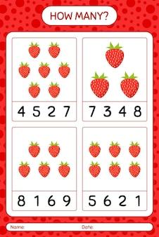 Jogo de contagem de quantos com folha de cálculo de morango para crianças em idade pré-escolar, folha de atividades para crianças, folha de cálculo para impressão