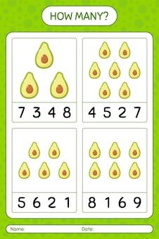 Jogo de contagem de quantos com planilha de abacate para crianças em idade pré-escolar, planilha de atividades para crianças, planilha para impressão