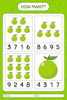 Jogo de contagem de quantos com planilha de goiaba para crianças em idade pré-escolar, planilha de atividades para crianças, planilha para impressão
