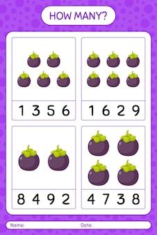 Jogo de contagem de quantos com planilha de mangostão para crianças em idade pré-escolar, planilha de atividades para crianças, planilha para impressão