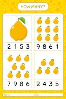 Jogo de contagem de quantos com planilha de marmelo para crianças em idade pré-escolar, planilha de atividades para crianças, planilha para impressão