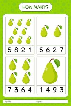 Jogo de contagem de quantos com planilha de pêra para crianças em idade pré-escolar, planilha de atividades para crianças, planilha para impressão