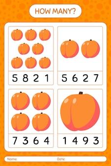 Jogo de contagem de quantos com planilha de pêssego para crianças em idade pré-escolar, planilha de atividades para crianças, planilha para impressão