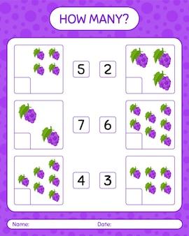 Jogo de contagem de quantos com planilha de uva para crianças em idade pré-escolar, planilha de atividades para crianças, planilha para impressão