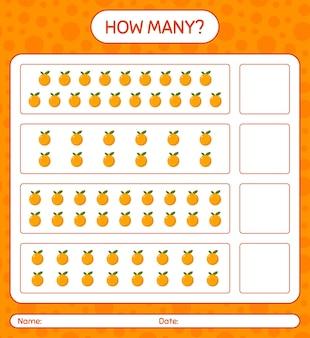 Jogo de contagem de quantos com planilha laranja para crianças em idade pré-escolar, planilha de atividades para crianças, planilha para impressão