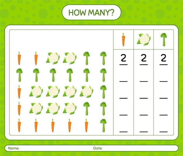 Jogo de contagem de quantos com vegetais