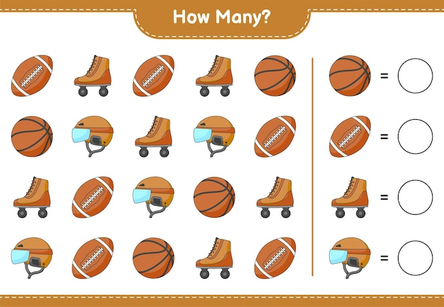 Jogo de contagem de quantos hóquei capacete roller skate basquete e bola de futebol