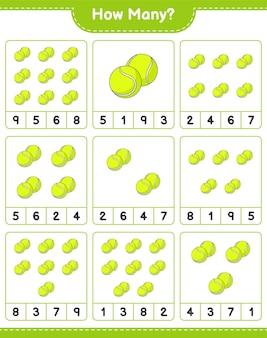 Jogo de contagem de quantos jogos de bola de tênis educacional para crianças planilha para impressão