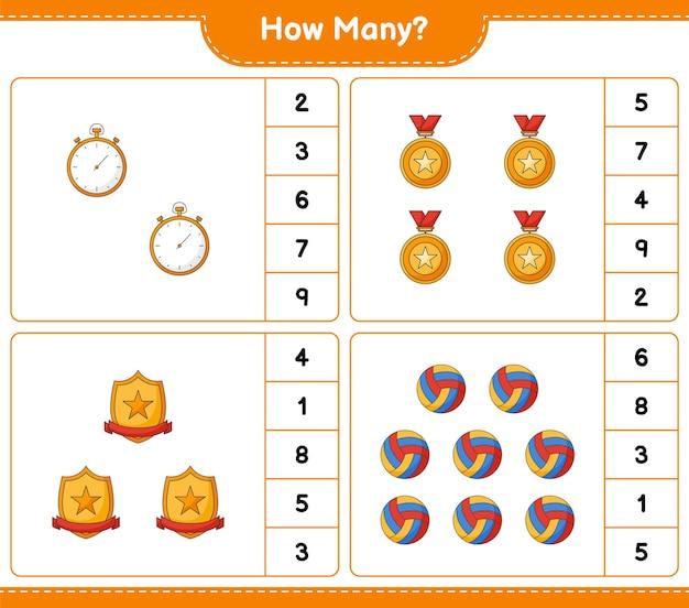 Jogo de contagem de quantos troféu cronômetro e voleibol jogo educativo para crianças