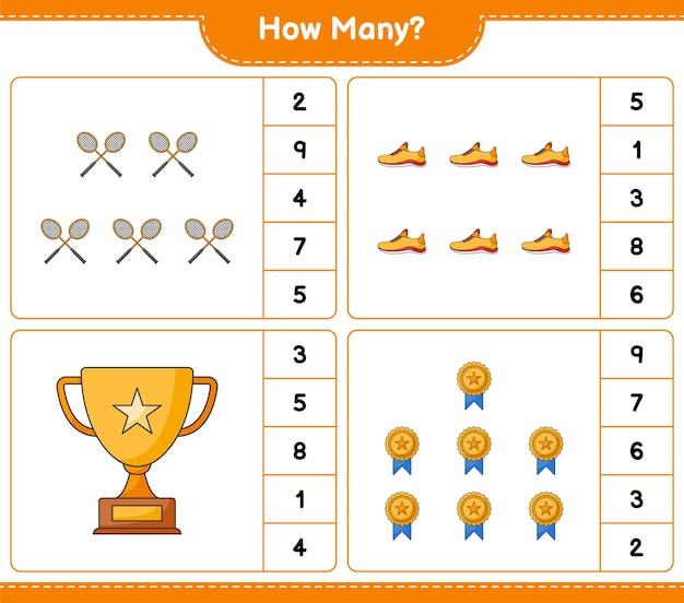 Jogo de contagem de quantos troféu tênis e raquetes de badminton jogo educativo para crianças