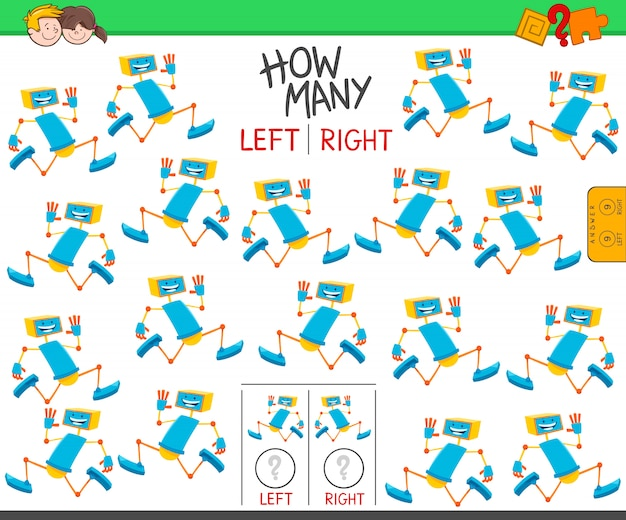 Jogo de contagem de robôs orientados para a esquerda e para a direita