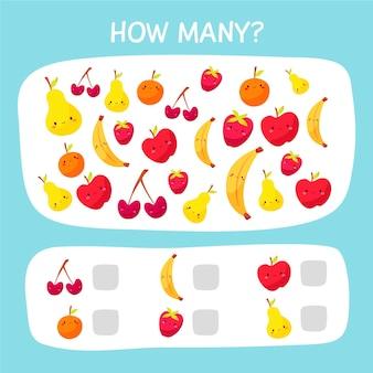 Jogo de contagem fofo com frutas