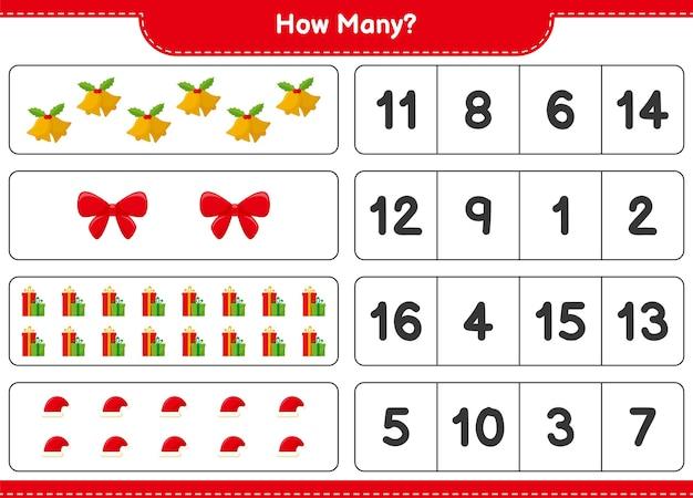 Jogo de contagem, jogo educativo para crianças de decoração de natal, planilha para impressão