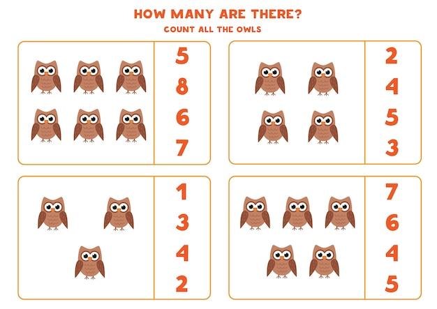 Jogo de contagem para crianças contar todas as corujas fofas planilha para crianças