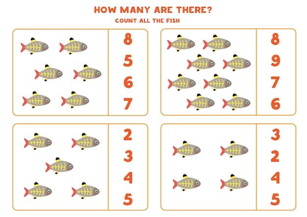 Jogo de contagem para crianças. conte todos os peixes de raio-x. folha de trabalho para crianças.