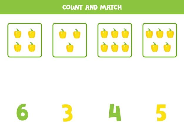Jogo de contagem para crianças. conte todos os pimentões amarelos dos desenhos animados e combine com um número. folha de trabalho para crianças.