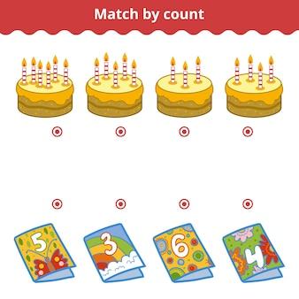Jogo de contagem para crianças em idade pré-escolar conte as velas e escolha a resposta certa