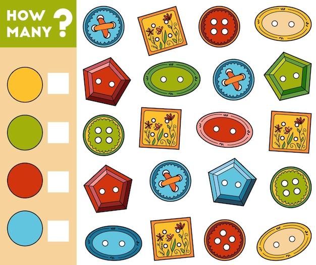 Jogo de contagem para crianças em idade pré-escolar conte quantos botões de roupa e escreva o resultado