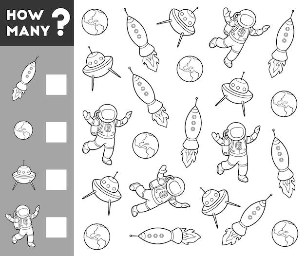Jogo de contagem para crianças em idade pré-escolar conte quantos objetos espaciais e escreva o resultado Vetor Premium