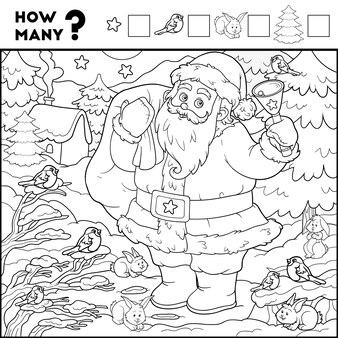 Jogo de contagem para crianças em idade pré-escolar jogo educacional matemático do papai noel e de fundo