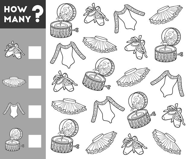 Jogo de contagem para crianças em idade pré-escolar jogo matemático educacional contar quantos objetos para balé