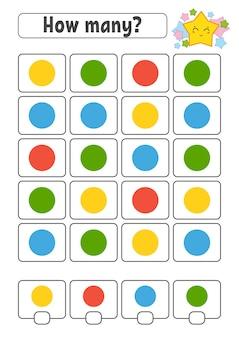 Jogo de contagem para crianças. personagens felizes. aprendizagem matemática.