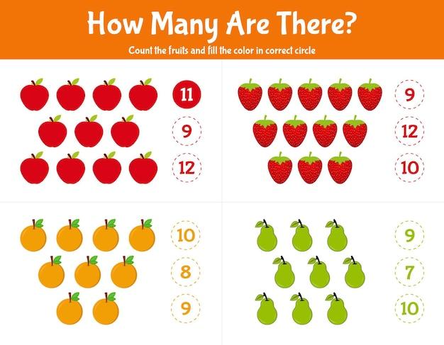 Jogo de contagem para crianças quantas frutas contando