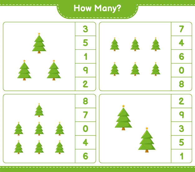 Jogo de contagem, quantas árvore de natal. jogo educativo para crianças, planilha para impressão,