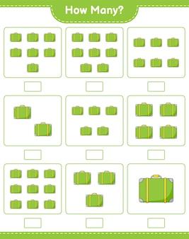 Jogo de contagem, quantas bagagens. jogo educativo para crianças, planilha para impressão