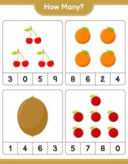 Jogo de contagem, quantas frutas. jogo educativo para crianças, planilha para impressão, ilustração